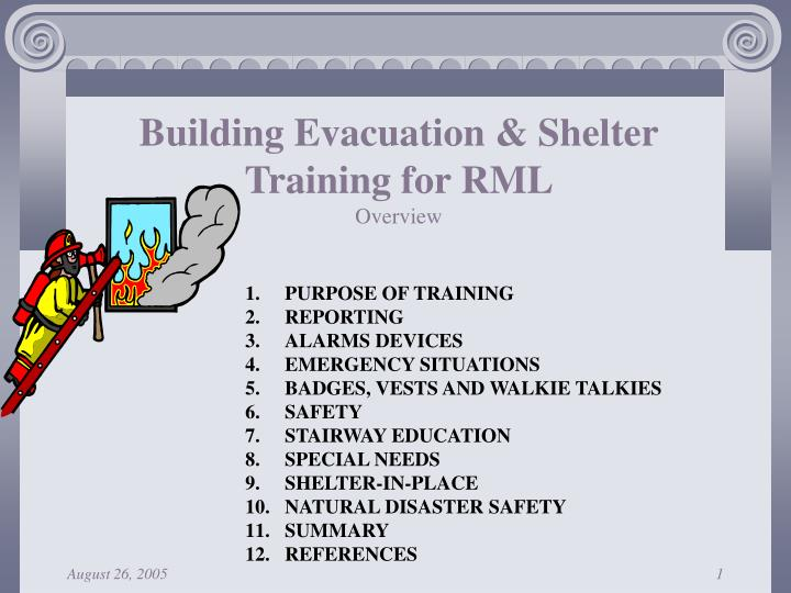 Building evacuation shelter training for rml overview