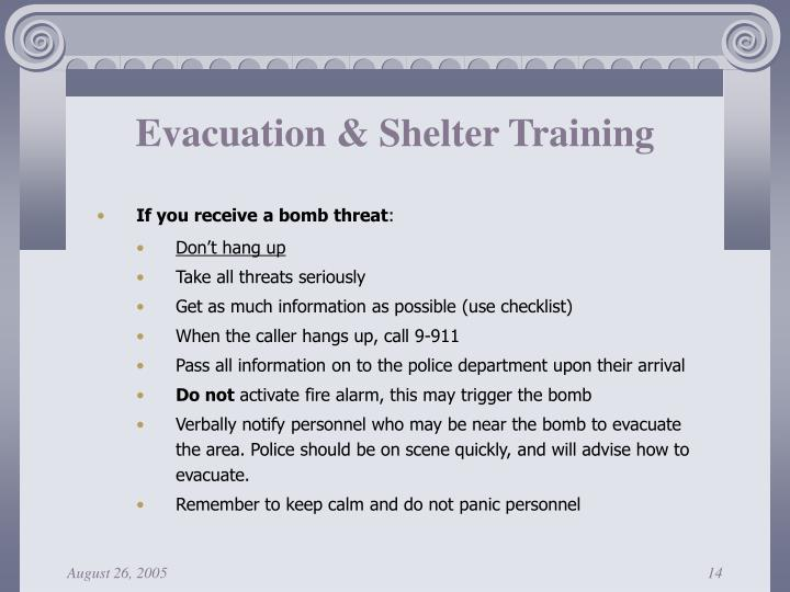 Evacuation & Shelter Training