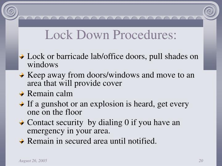 Lock Down Procedures:
