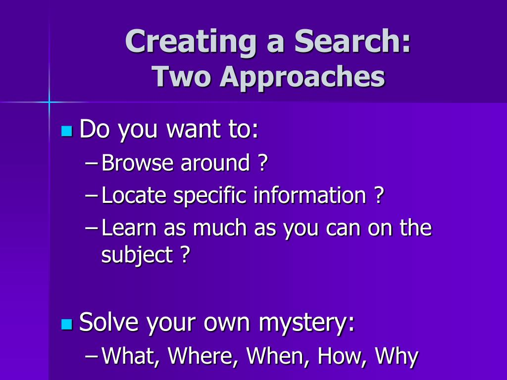 Creating a Search: