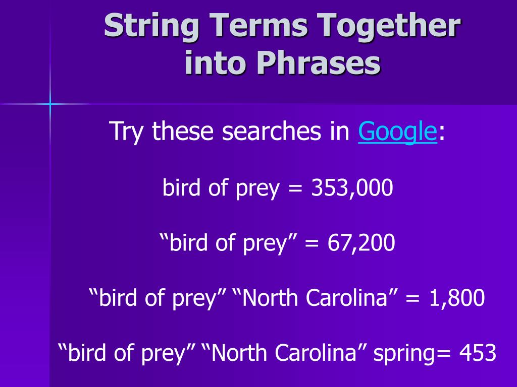 String Terms Together into Phrases