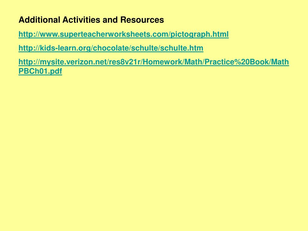 Additional Activities and Resources