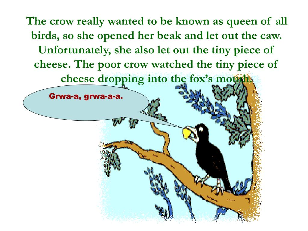 The crow really wanted to be known as queen of all birds, so she opened her beak and let out the caw. Unfortunately, she also let out the tiny piece of cheese. The poor crow watched the tiny piece of cheese dropping into the fox's mouth.