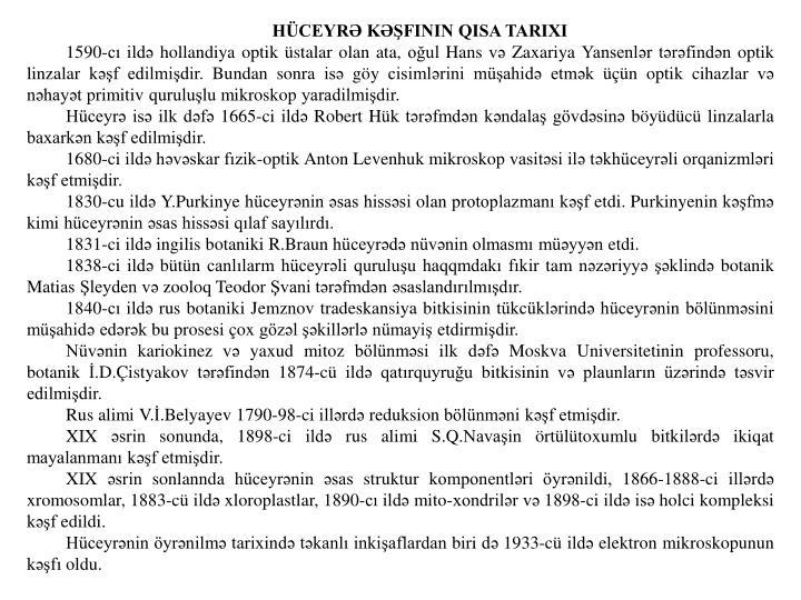 HÜCEYRƏ KƏŞFININ QISA TARIXI