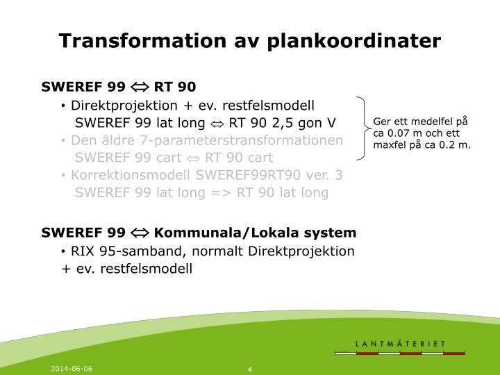 Transformation av plankoordinater