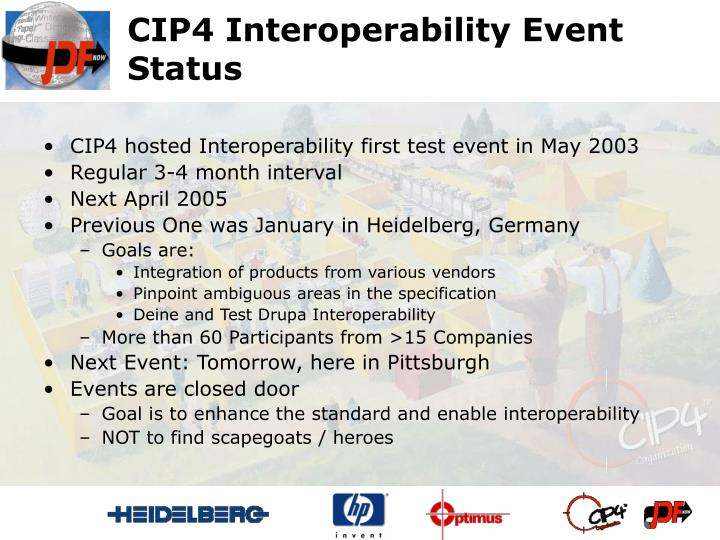 CIP4 Interoperability Event Status