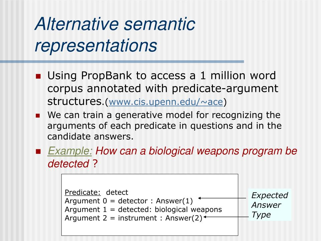 Alternative semantic representations