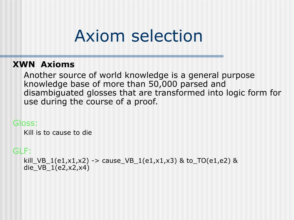Axiom selection