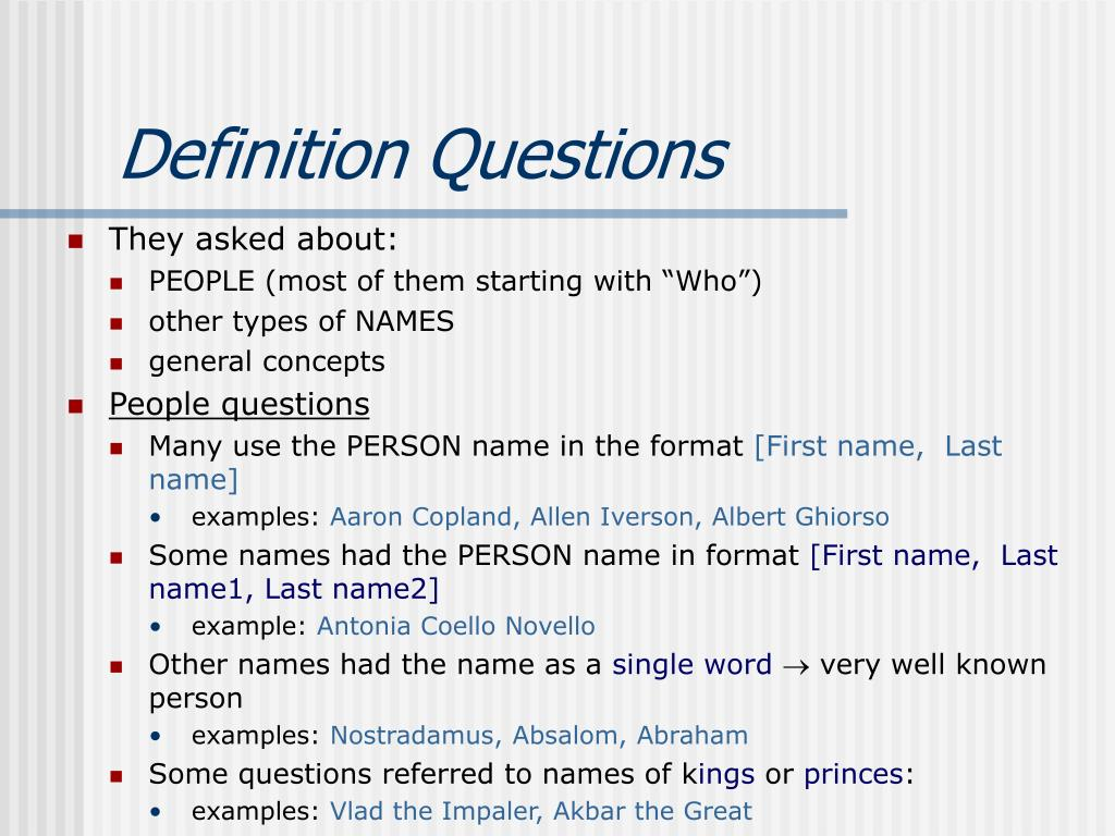 Definition Questions