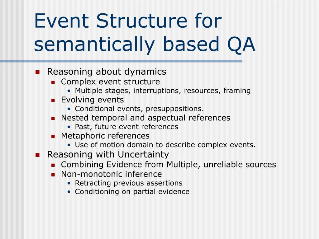 Event Structure for semantically based QA