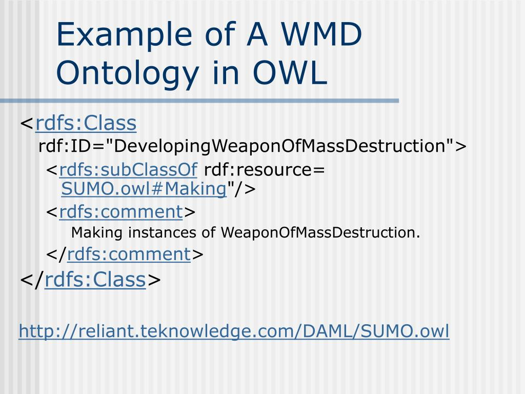 Example of A WMD Ontology in OWL