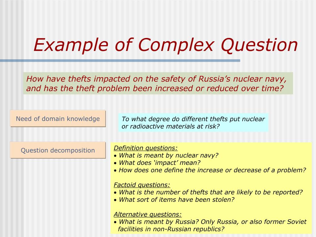 Example of Complex Question