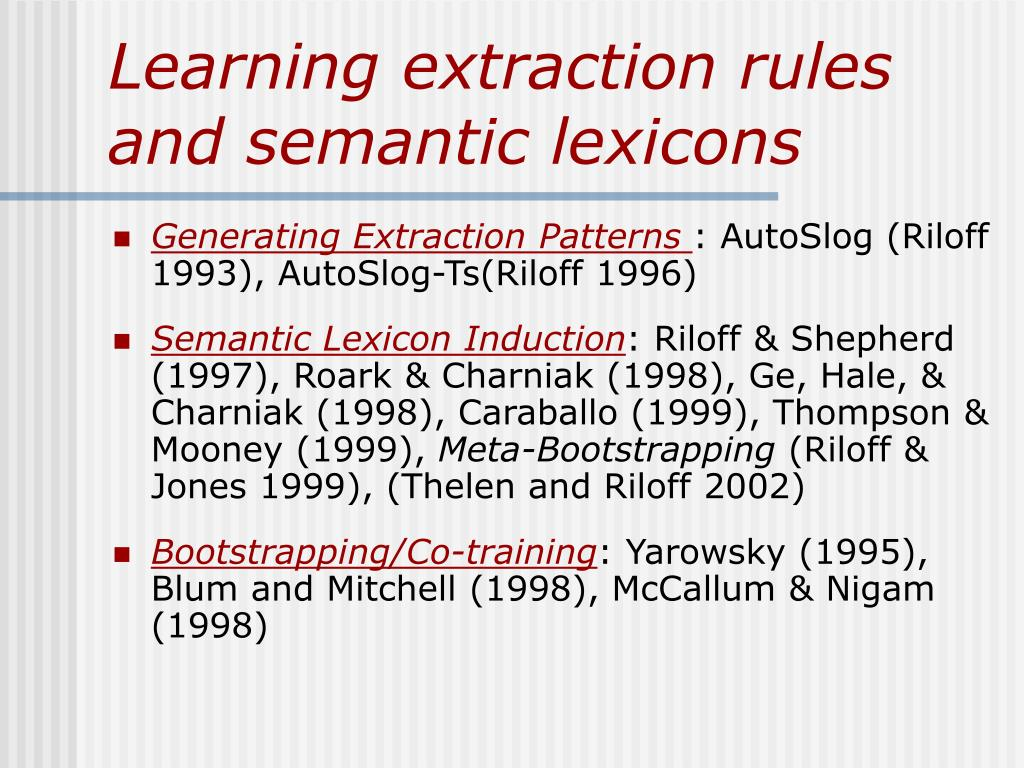 Generating Extraction Patterns