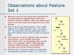 observations about feature set 1