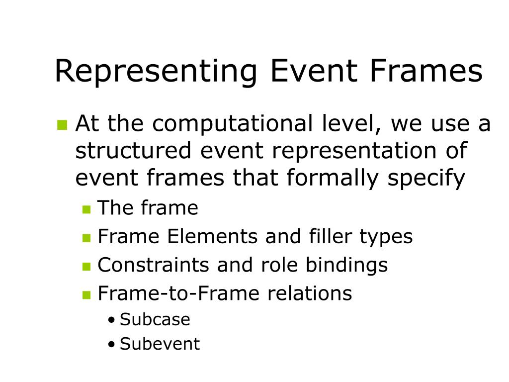 Representing Event Frames