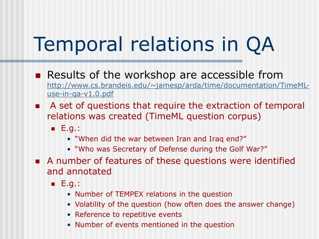 Temporal relations in QA