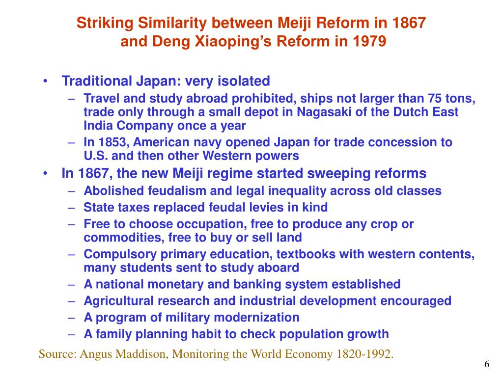 Striking Similarity between Meiji Reform in 1867