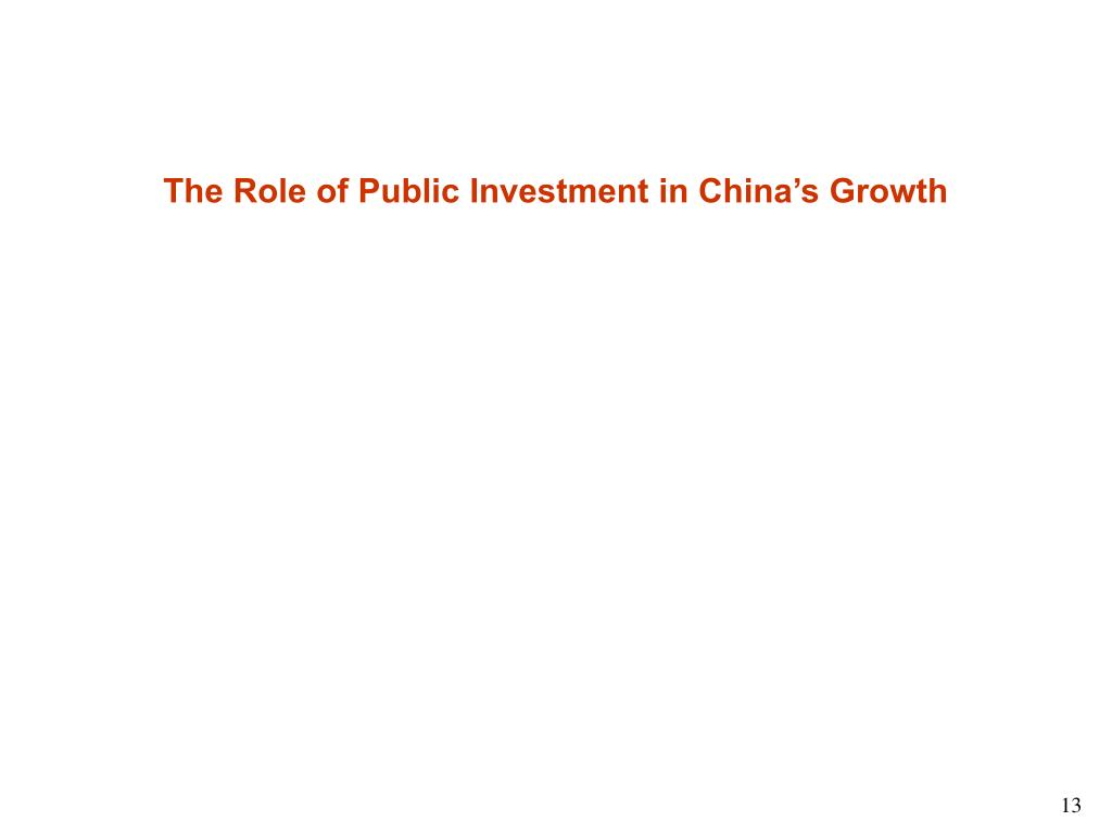The Role of Public Investment in China's Growth