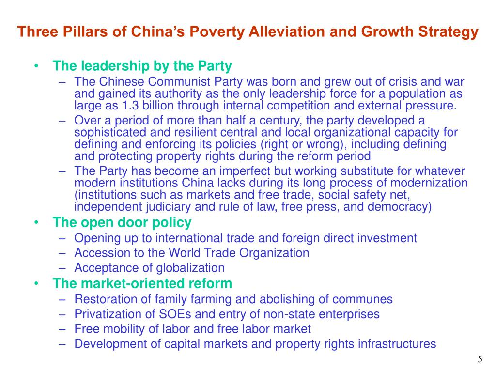 Three Pillars of China's Poverty Alleviation and Growth Strategy