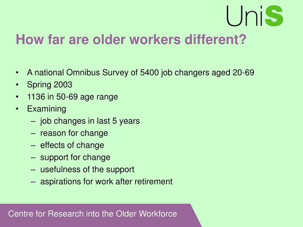 How far are older workers different?