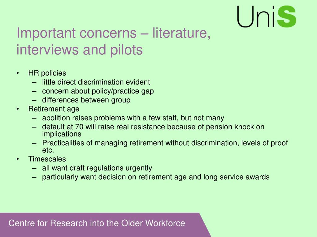 Important concerns – literature, interviews and pilots