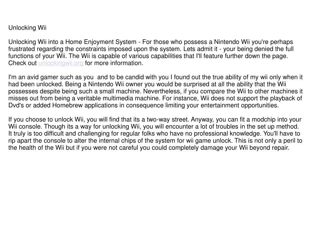 Unlocking Wii