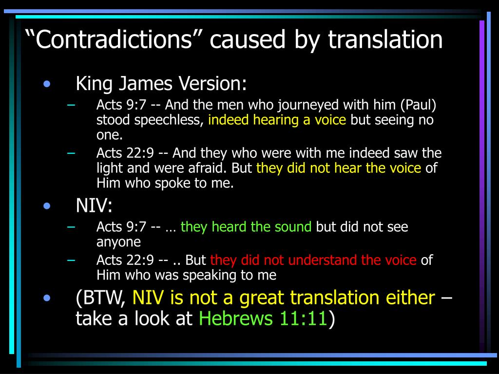 """Contradictions"" caused by translation"