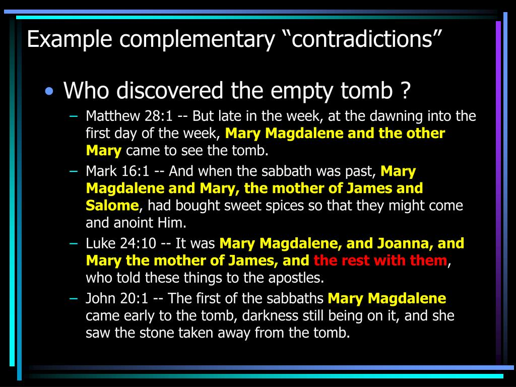 "Example complementary ""contradictions"""