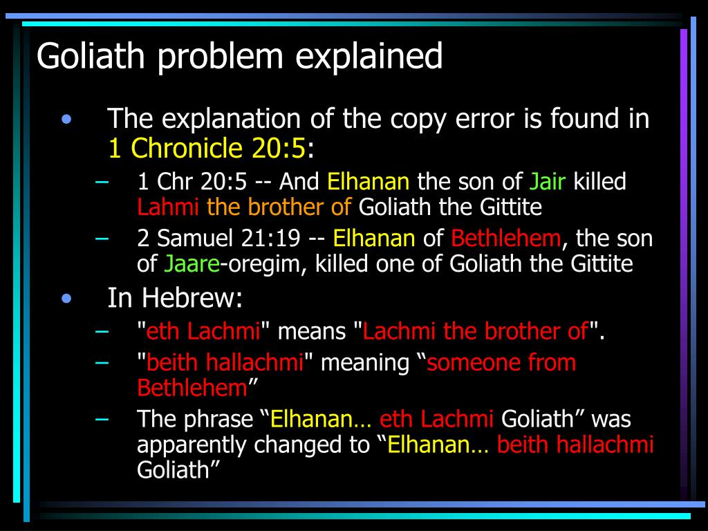 Goliath problem explained
