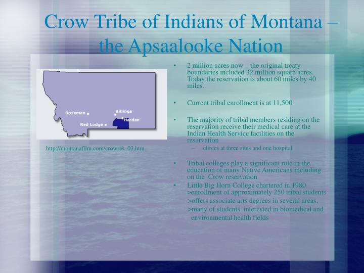 Crow tribe of indians of montana the apsaalooke nation