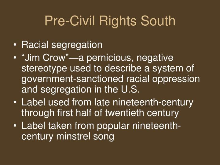 Pre civil rights south