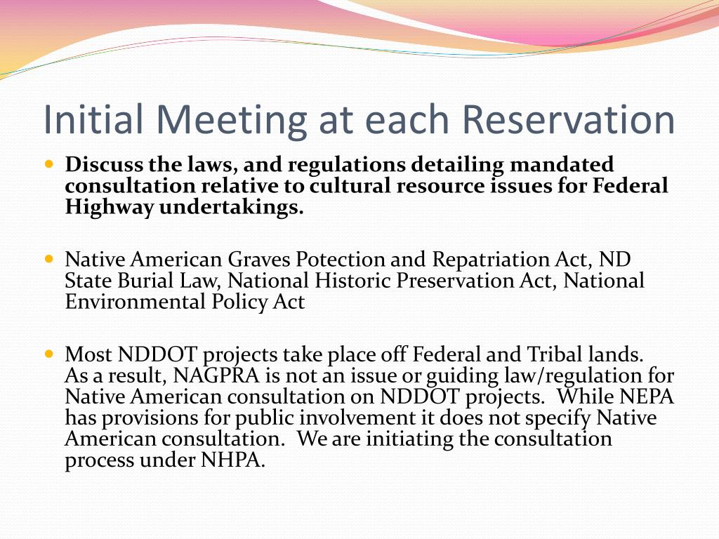 Initial Meeting at each Reservation