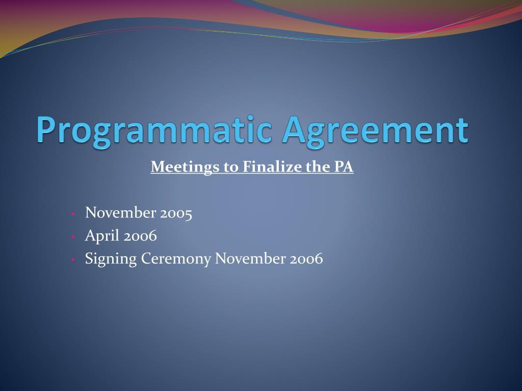 Programmatic Agreement