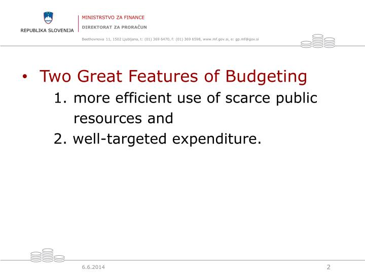 Two Great Features of Budgeting