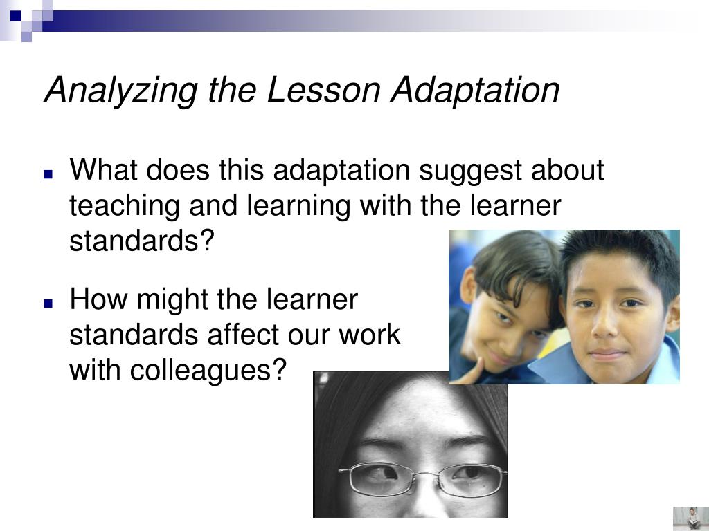Analyzing the Lesson Adaptation
