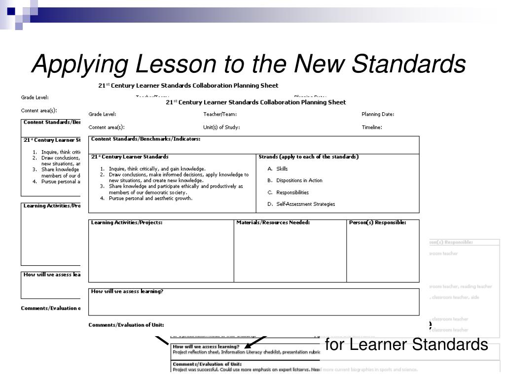 Applying Lesson to the New Standards