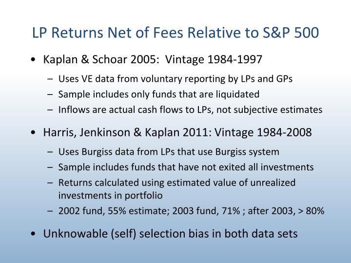 LP Returns Net of Fees Relative to S&P 500