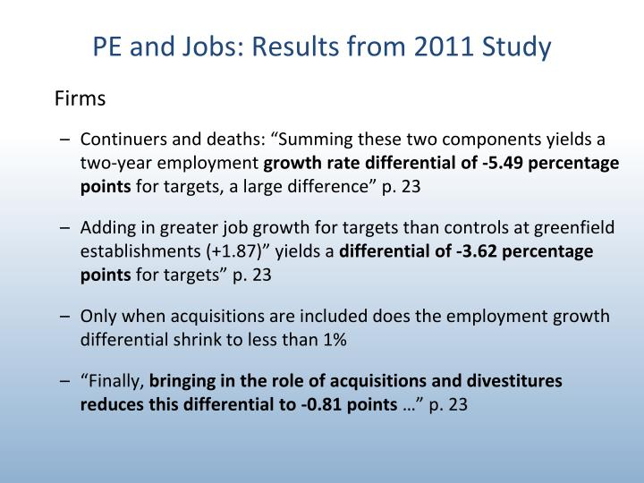PE and Jobs: Results from 2011 Study