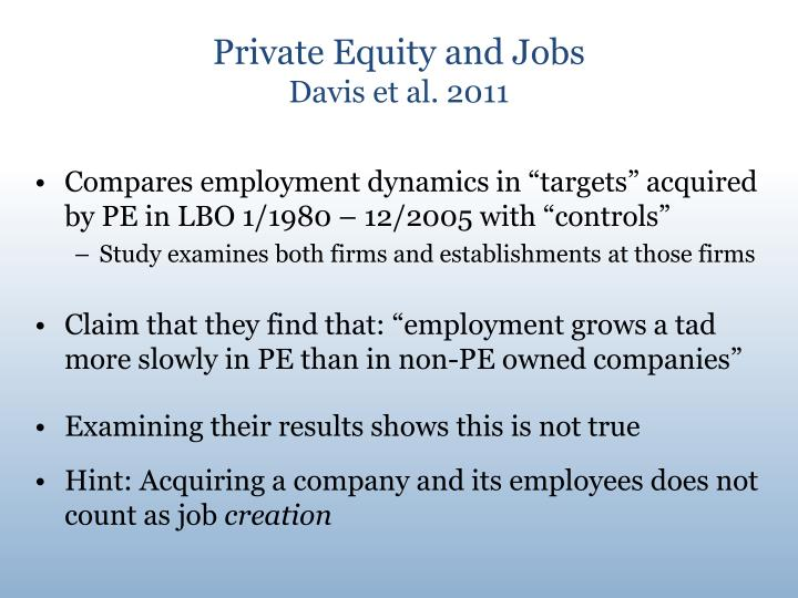 Private Equity and Jobs