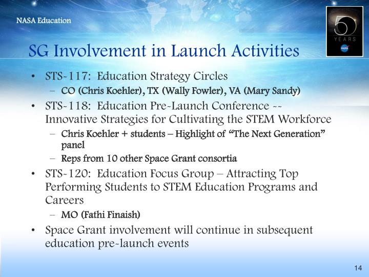 SG Involvement in Launch Activities