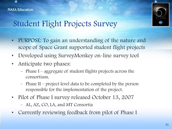 Student Flight Projects Survey