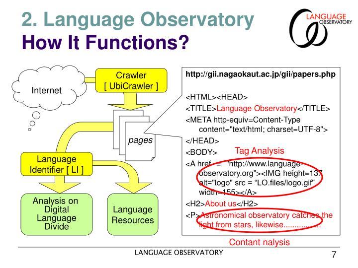 2. Language Observatory