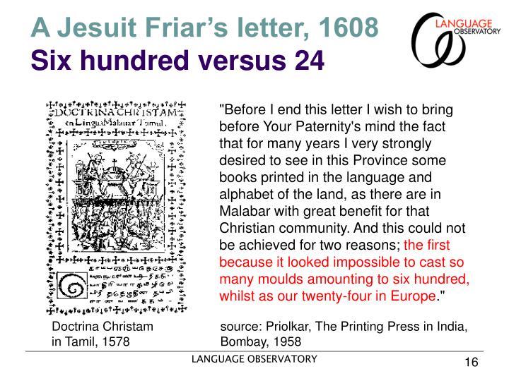 A Jesuit Friar's letter, 1608