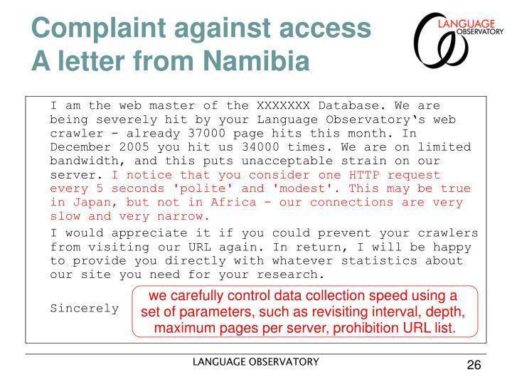 Complaint against access
