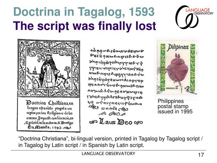 Doctrina in Tagalog, 1593