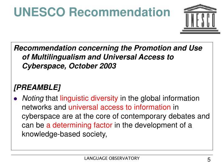 UNESCO Recommendation