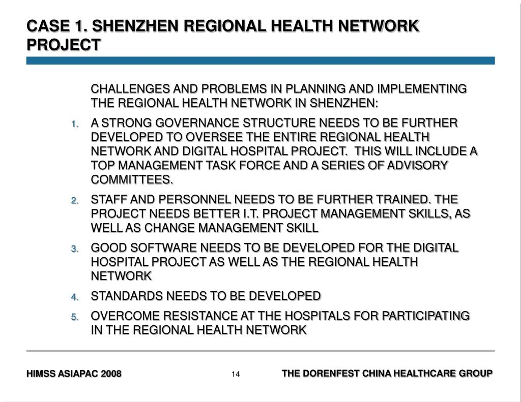 CASE 1. SHENZHEN REGIONAL HEALTH NETWORK PROJECT