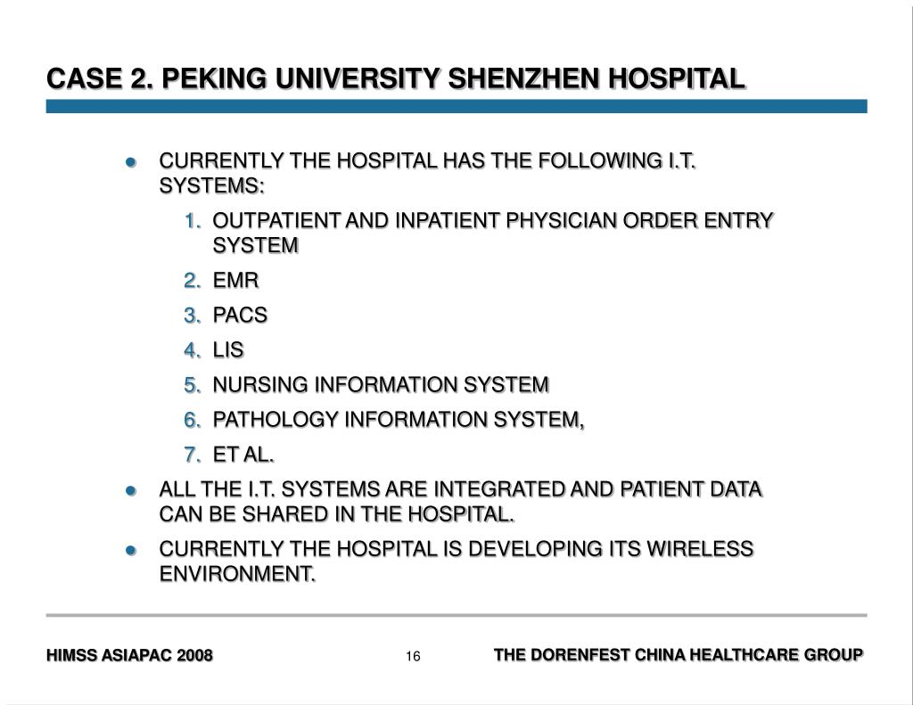 CASE 2. PEKING UNIVERSITY SHENZHEN HOSPITAL