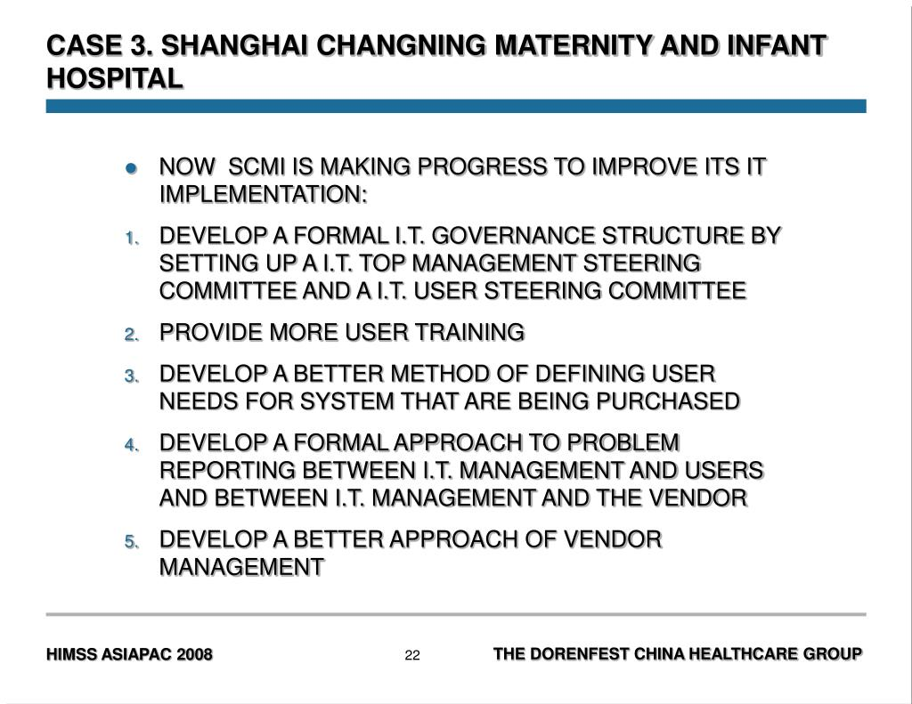 CASE 3. SHANGHAI CHANGNING MATERNITY AND INFANT HOSPITAL