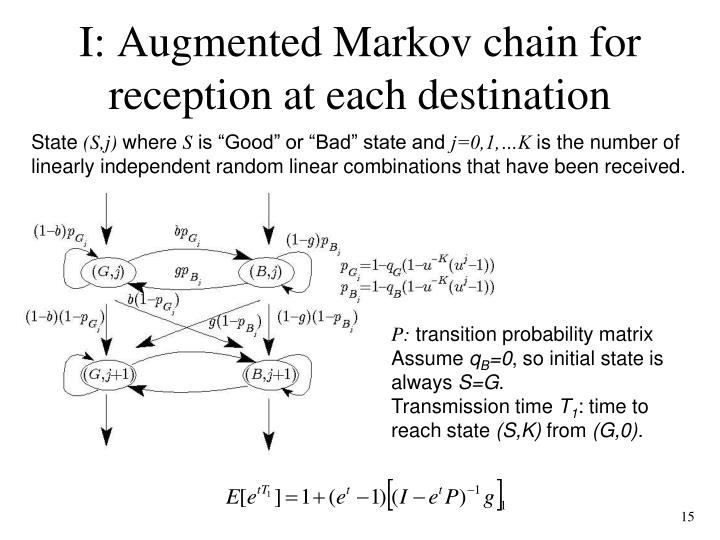 I: Augmented Markov chain for reception at each destination